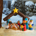 Christmas Inflatable Blow Up LED Light Up Nativity Scene Stable Yard Decoration