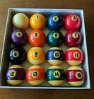 Vintage Authentic Billiards Cue Pool Table 1 15 complete Ball Set White Ball