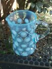 Fenton blue opalescent coin dot spot 4 glass creamer minty