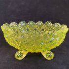 Vtg Fenton Topaz Yellow Opalescent Daisy  Button Footed Bowl