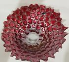 Vintage Murano art glass bowl 145 Crimson Red Hearts Orig Sticker Italy