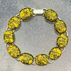 Yellow Gold Color Fused Dichroic Art Glass Jewelry Silver Plated Link Bracelet