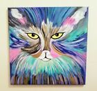Maine Coon Cat Abstract Painting on Stretched Canvas Colorful 24 x 24 inches