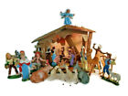 Vtg Nativity Set Wooden Crche Manger and 21 Plastic Resin Figures Made in Italy