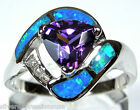 Amethyst  Blue Fire Opal Inlay Solid 925 Sterling Silver Ring Size 6789