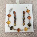 925 Sterling Silver Baltic Amber Earrings and Bracelet Multicolor Tri color