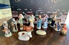 Set of 12 Vintage French Feves Nativity Scene Miniature Porcelain Figurines