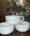 Vintage Anchor Hocking FIRE KING D Handle Chili Soup Bowls X3 White Milk Glass
