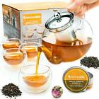 Tea Kettle Infuser Stovetop Gift Set Glass Teapot with Removable Stainless