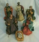 VINTAGE FABRIC MACHE LARGE NATIVITY FIGURES 6 Made in Taiwan