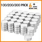 Tea Light Candles 100 200 300 Pack White Unscented 6 Hrs Long Lasting Tealights