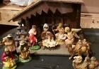 Vintage ITALIAN NATIVITY SET Christmas Manger 10 Figures Made In ITALY Lighted