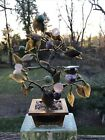 JADE BONSAI TREE CHINESE GLASS HARD STONE ASIAN BRASS POT ESTATE FIND
