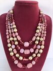 Beautiful Vtg Miriam Haskell Style Pink Glass  Baroque Pearl 4 Strand Necklace
