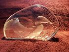 Mats Jonasson Sweden Loon on Pond Lead Crystal Art Glass Paperweight Etched
