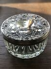 Antique Vanity Glass Powder Jar with Ornate Lid