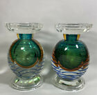 Pair Vintage Italian Glass Sommerso Heavy Candle Holders Ribbed Green 65 Tall