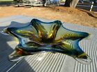 Vintage Murano Glass Dish Star Bowl Mid Century Blue  Gold Amber Color