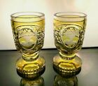 PAIR of Bohemian Cut to Clear Amber Glass Vases Footed Goblets Floral Cartouche