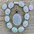 Fused Dichroic Glass Jewelry Set Earrings Pendant Link Bracelet White Pink Blue