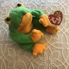 Ty Beanie Babies Baby Smoochy The Frog 1997 Green Yellow Toad Prince Kiss Plush
