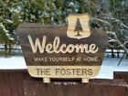 Custom Welcome Sign Campsite Cabin National Forest Carved wood sign