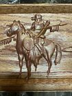 Rustic 3D Native American Indian Horse Wood Craft Art Carving Picture Wall Deco