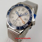 41mm bliger white dial blue hands Sapphire glass GMT automatic mens Watch