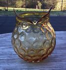 Hand Blown Amber Art Glass Owl Vase Honeycomb texture Large