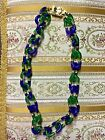 Archimede Seguso CHANEL 1960s Blue Green Glass Chain Link Necklace