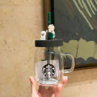 NEW Starbucks Cute Bear Glass Coffee Mug Sippy cups Water Bottle Limited Edition