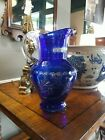 11 Bohemian Cut To Clear Cobalt Blue Crystal Pitcher