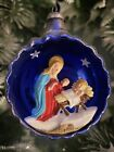 Vintage MERCURY GLASS 3D DIORAMA INDENT Nativity CHRISTMAS ORNAMENT Italy