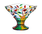 Venetian Glass Hand Painted Compote Bowl Flowervine Pattern Made In Italy