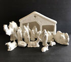 16 Pc Glossy Nativity Set Holland Mold Stable + 15 Pieces Animals  Figurines C