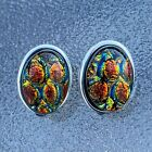 Red Fused Dichroic Art Glass Jewelry Clip On Earrings Bezel Setting Handmade s