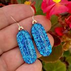 Blue Fused Dichroic Art Glass Jewelry Earrings Dangle Sterling Silver Wires H