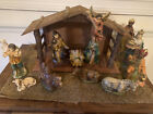12 Pc Nativity Set Paper Mache 10 Scale Japan complete Vintage 1950s Christmas