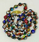 VTG Venetian Murano Millefiori Bead Necklace Hand Knotted Red Thread Gold Clasp