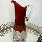 Antique Ruby Red Flash Souvenir Glass Pitcher Indiana EL13