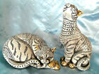 Pair Ceramic Resin Spotted Striped Hand Painted Cats figurines 9