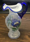 Fenton Handpainted Glass Art White Blue Small Flower Pitcher