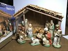 Vintage Sears Christmas Nativity Set 11 Figures  Wooden Stable 97890 Holiday