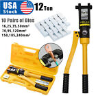 12 Ton Hydraulic Wire Crimper Crimping Tool Battery Cable Lug Terminal 10 Dies