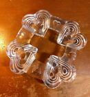 Pukeberg Sweden Crystal Glass Four Heart Candle Ring Holder Clear