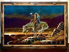 Vintage End Of The Trail Native American Indian Mexico Velvet Painting 28 x 40