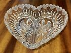 Beautiful Glass Crystal Etched Heart Shaped Bird Candy Trinket Dish Nice