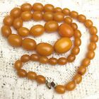 Vintage Art Deco 30s Butterscotch Honey Amber Bakelite Bead Necklace Graduated