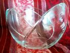 Large Thick Scalloped Crystal Glass LOTUS TULIP BOWL Serving Dish Heavy 6 Lb