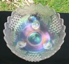 NORTHWOOD GRAPE  CABLE WHITE CARNIVAL GLASS FRUIT BOWL POINTS UP